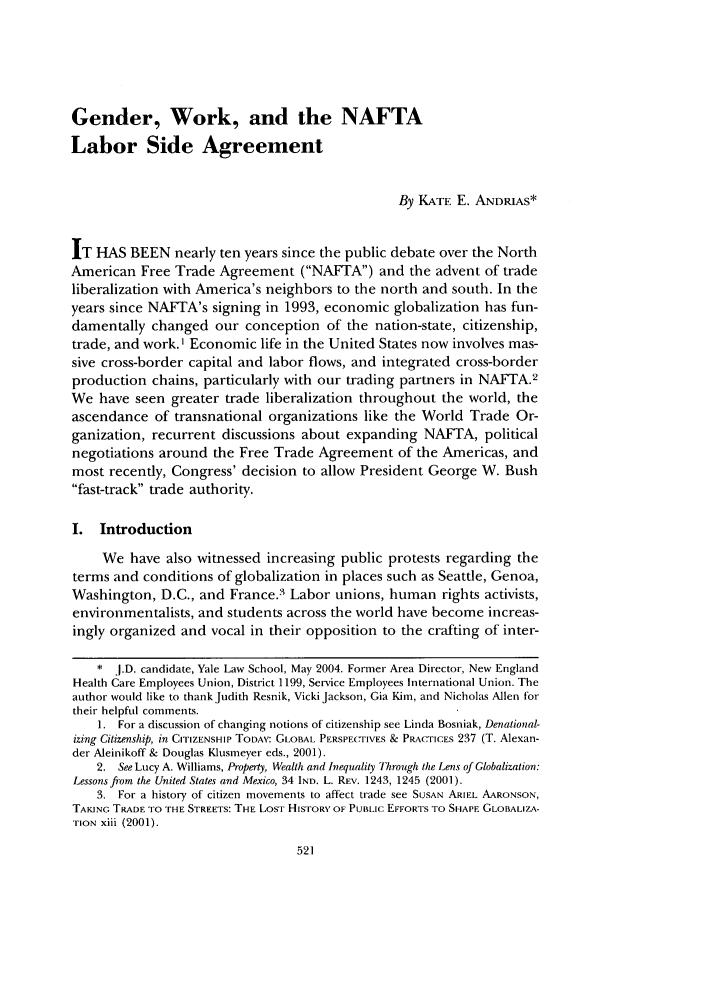 Gender work and the nafta labor side agreement symposium work in handle is heinurnalsusflr37 and id is 531 raw text is gender platinumwayz