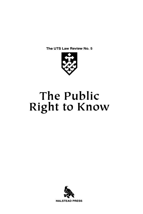 handle is hein.journals/utslr5 and id is 1 raw text is: The UTS Law Review No. 5