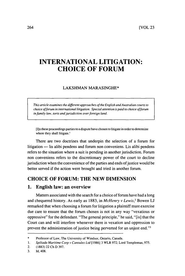 International Litigation Choice Of Forum 23 University Of Western