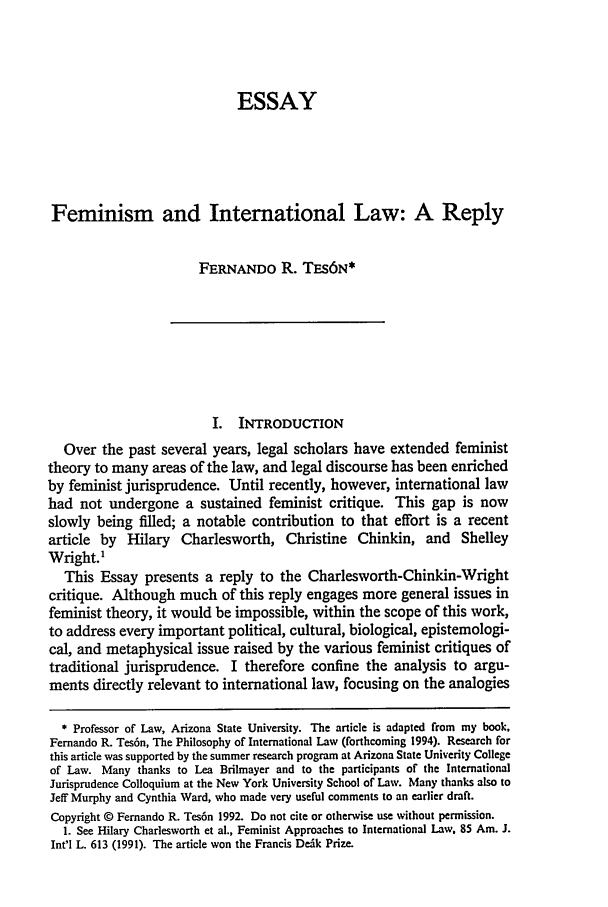 article essay feminism feminist jurisprudence note Chicago public law and legal theory working paper no 283 female justices, feminism and the politics of judicial appointment: a re‐examination rosalind dixon the law school the university of chicago november 2009 this paper can be downloaded without charge at the public law and legal theory working paper series.