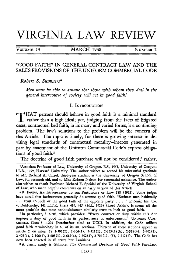 Good Faith in General Contract Law and the Sales ...