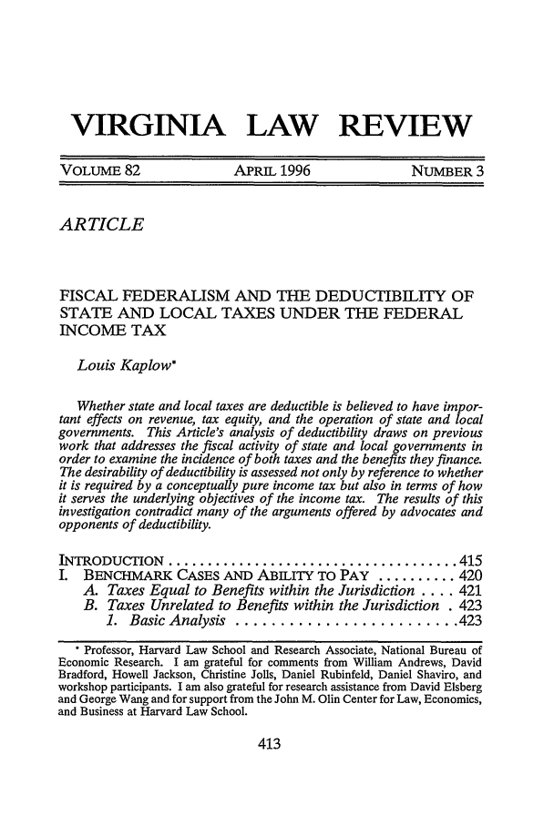 handle is hein.journals/valr82 and id is 431 raw text is: VIRGINIA LAW REVIEW
