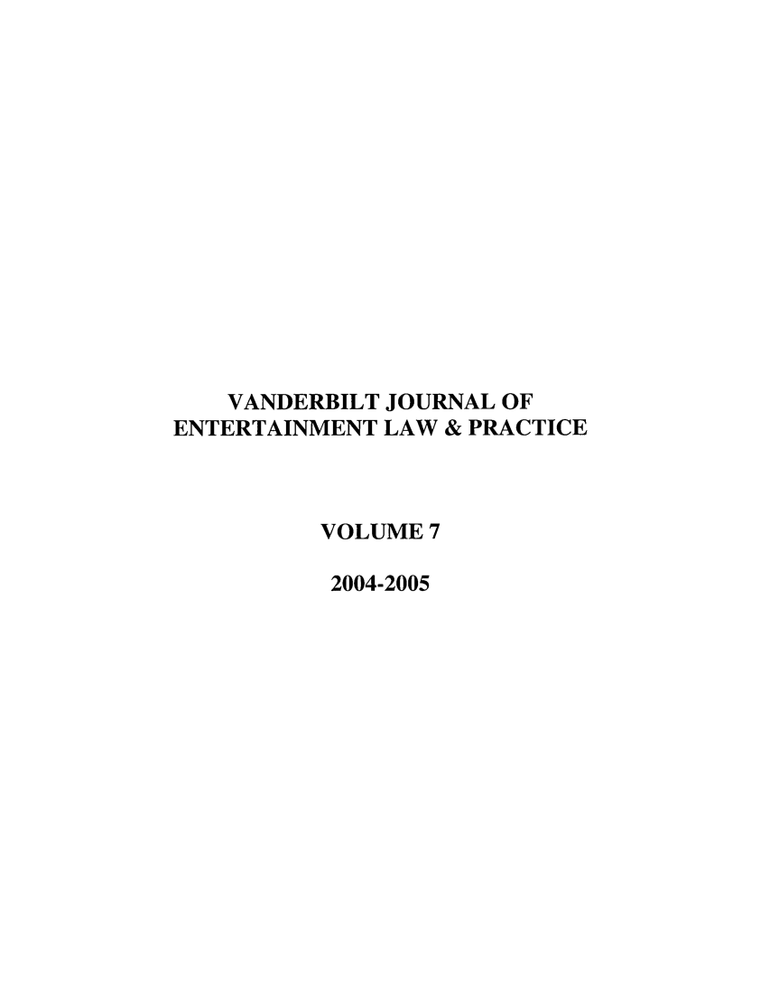 handle is hein.journals/vanep7 and id is 1 raw text is: VANDERBILT JOURNAL OF