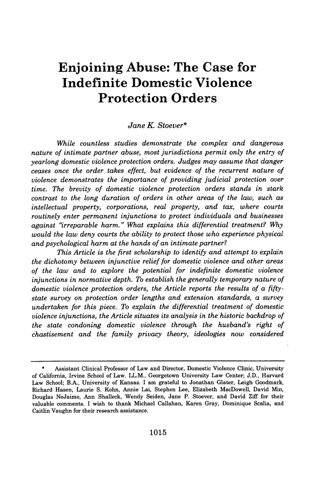 handle is hein.journals/vanlr67 and id is 1049 raw text is: Enjoining Abuse: The Case for