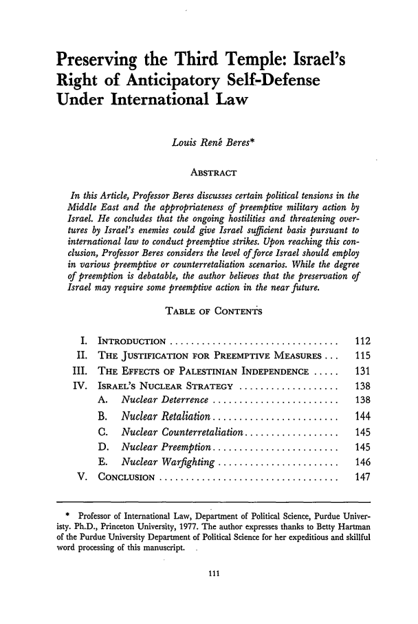 handle is hein.journals/vantl26 and id is 123 raw text is: Preserving the Third Temple: Israel's
