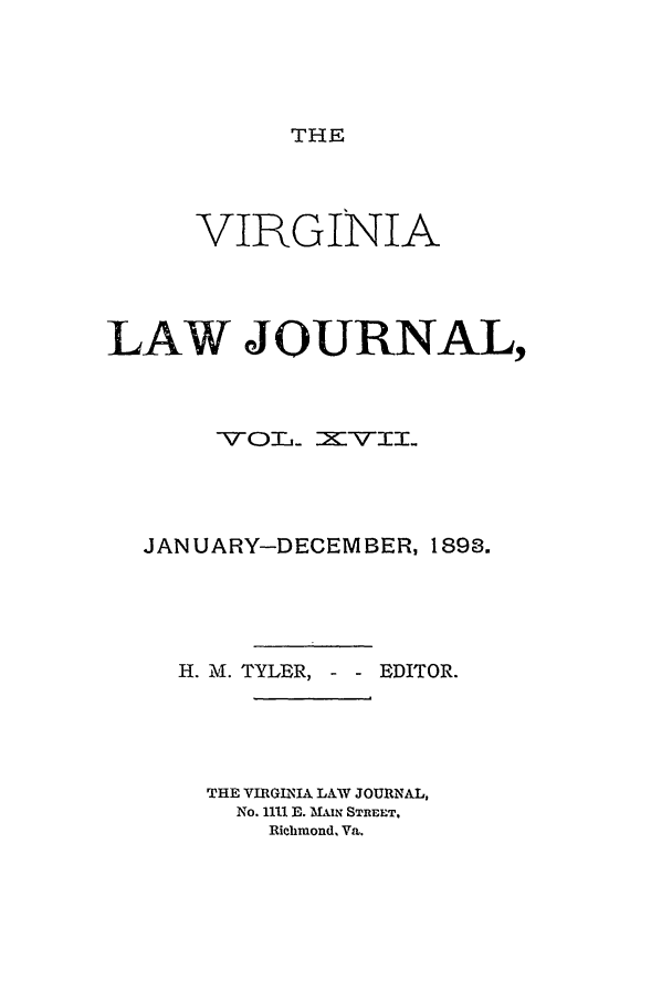 handle is hein.journals/vlawj17 and id is 1 raw text is: THE
