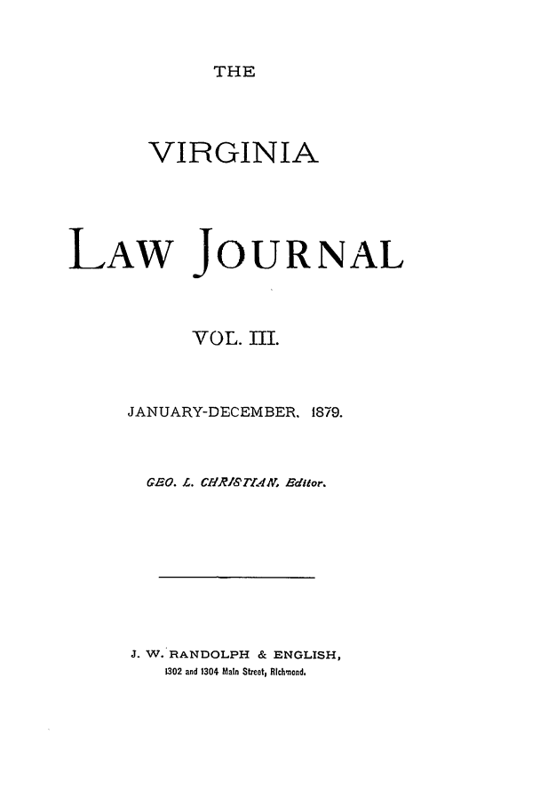 handle is hein.journals/vlawj3 and id is 1 raw text is: THE