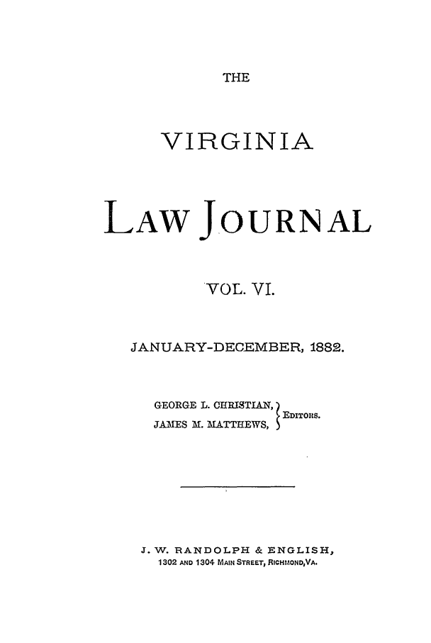 handle is hein.journals/vlawj6 and id is 1 raw text is: THE