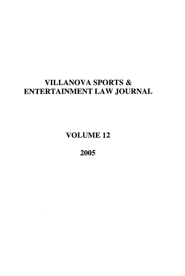 handle is hein.journals/vse12 and id is 1 raw text is: VILLANOVA SPORTS &