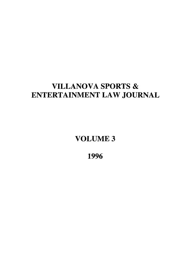 handle is hein.journals/vse3 and id is 1 raw text is: VILLANOVA SPORTS &