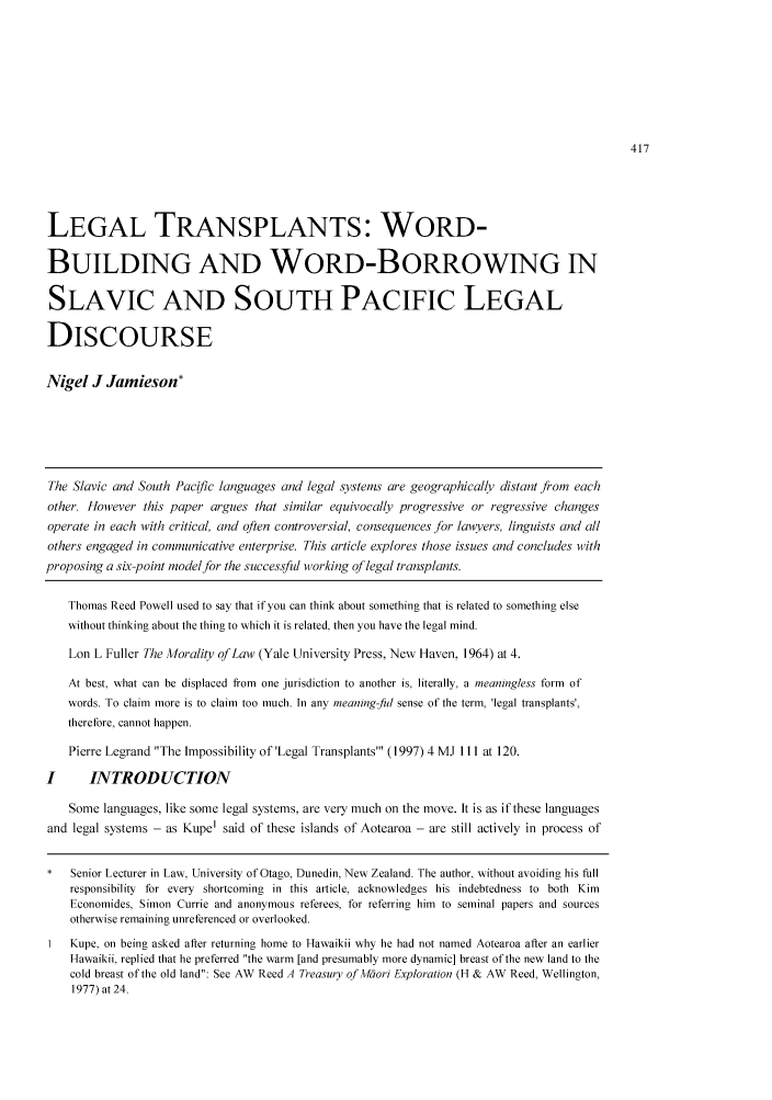 Legal Transplants: Word-Building and Word-Borrowing in
