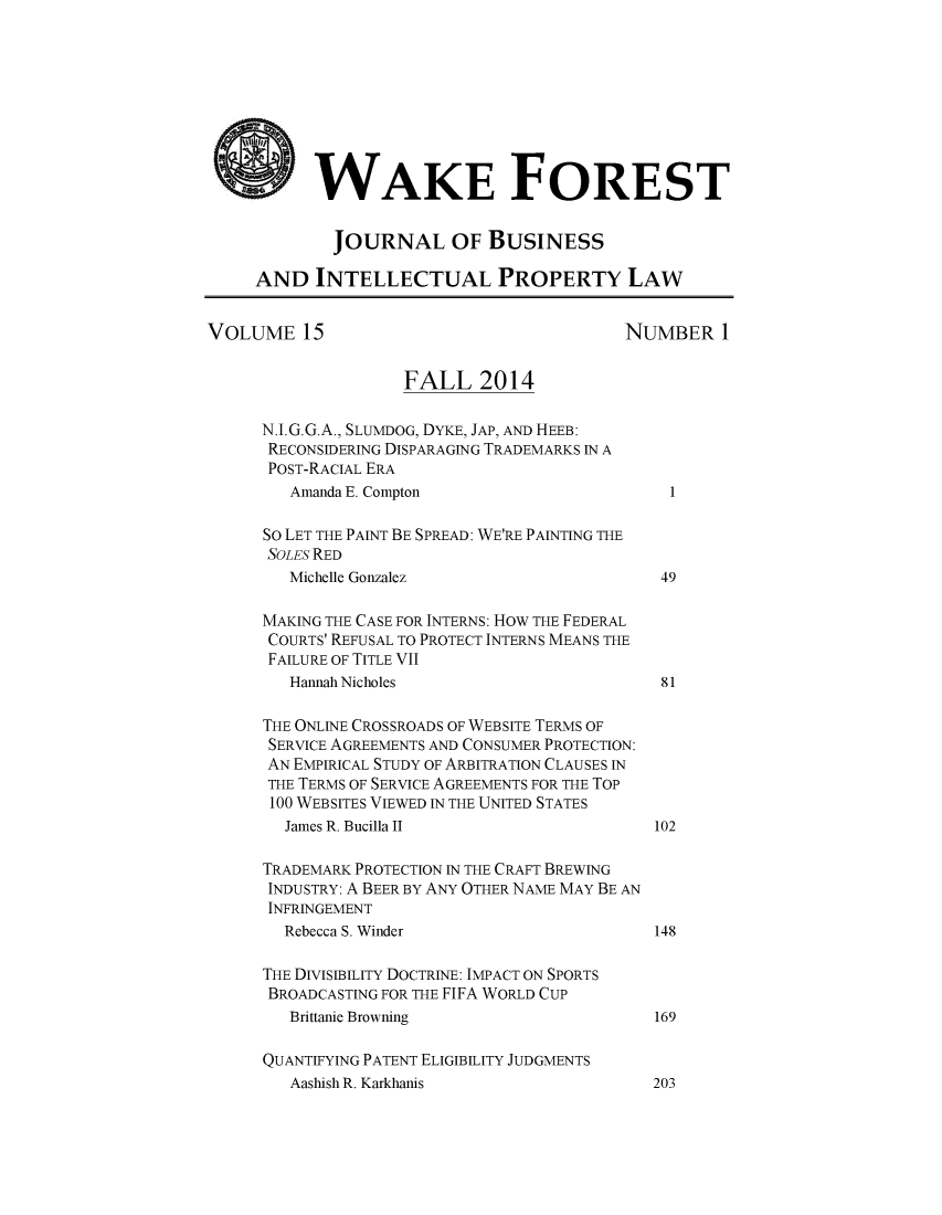 handle is hein.journals/wakfinp15 and id is 1 raw text is: 