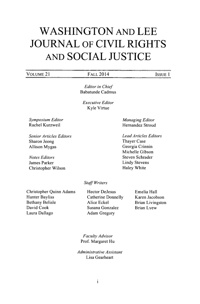 handle is hein.journals/walee21 and id is 1 raw text is: 