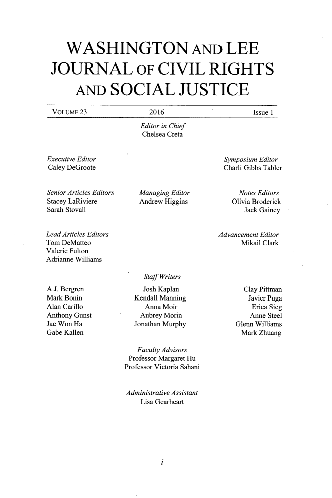 handle is hein.journals/walee23 and id is 1 raw text is: 