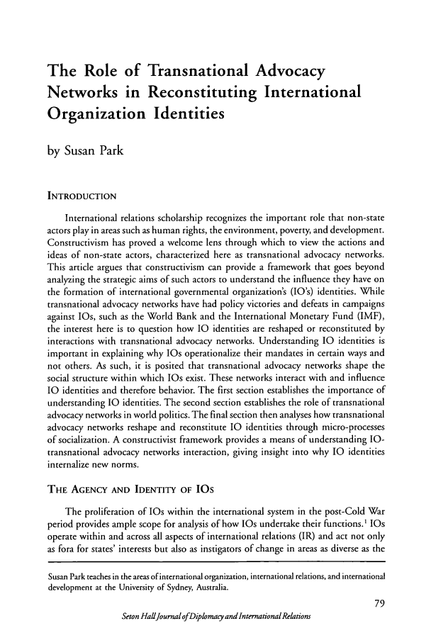handle is hein.journals/whith5 and id is 203 raw text is: The Role of Transnational Advocacy