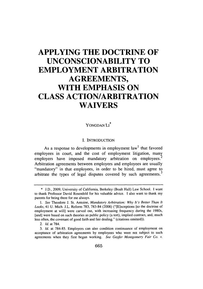 Applying The Doctrine Of Unconscionability To Employment Arbitration