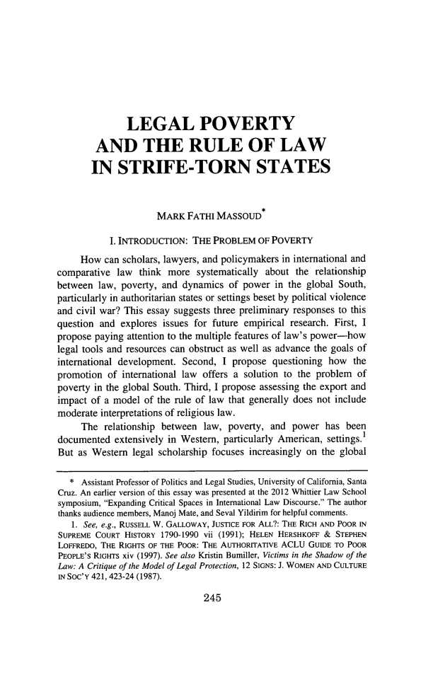 handle is hein.journals/whitlr34 and id is 269 raw text is: LEGAL POVERTY