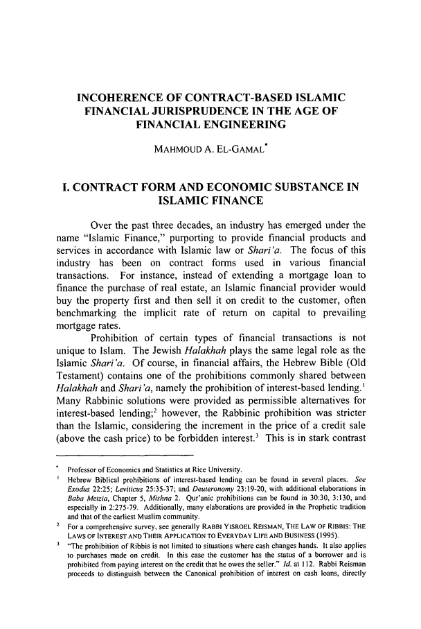 handle is hein.journals/wisint25 and id is 615 raw text is: INCOHERENCE OF CONTRACT-BASED ISLAMIC