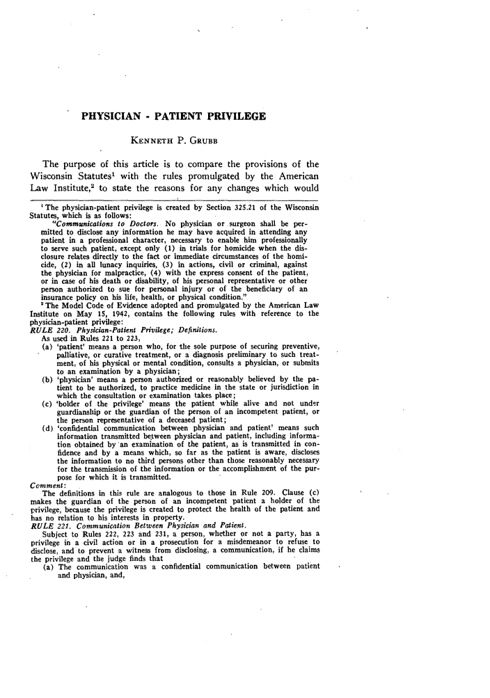 Physician - Patient Privilege 1945 Wisconsin Law Review 1945