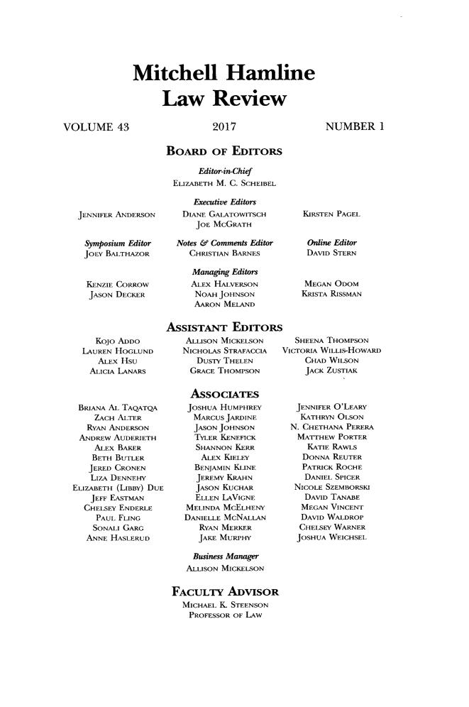 Mitchell Hamline Law Review V  43