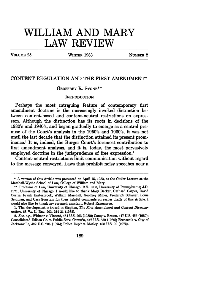 Content Regulation and the First Amendment 25 William and ...