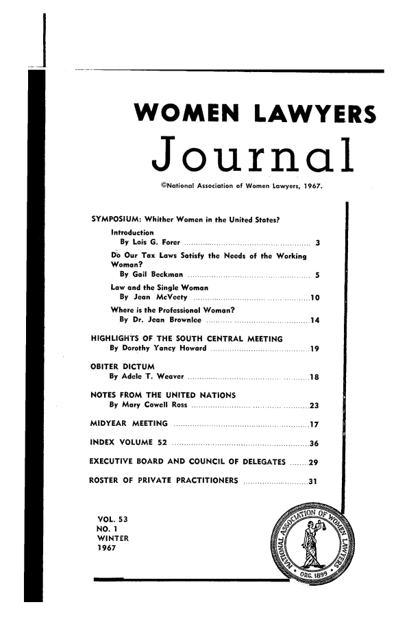 handle is hein.journals/wolj53 and id is 1 raw text is: WOMEN LAWYERS