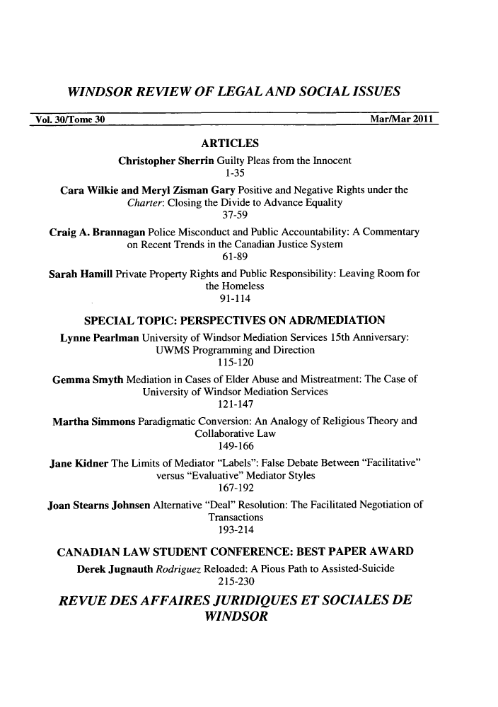 handle is hein.journals/wrlsi30 and id is 1 raw text is: WINDSOR REVIEW OF LEGAL AND SOCIAL ISSUES