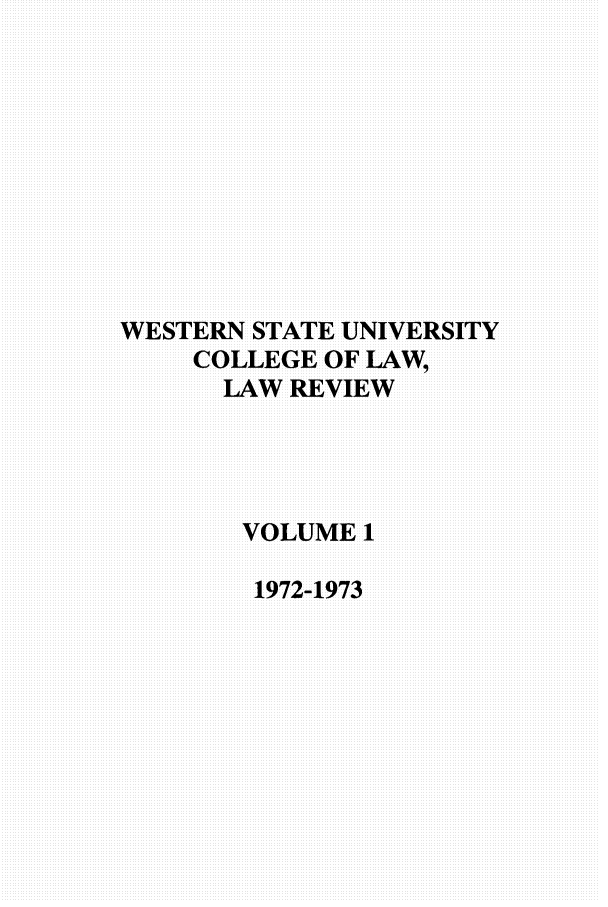 handle is hein.journals/wsulr1 and id is 1 raw text is: WESTERN STATE UNIVERSITY
