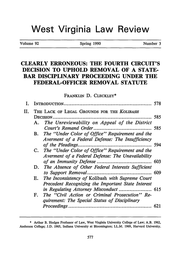 handle is hein.journals/wvb92 and id is 589 raw text is: West Virginia Law Review