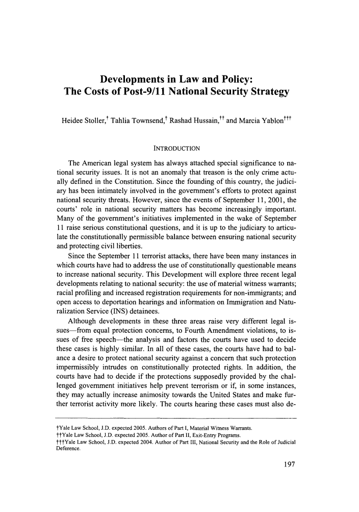 handle is hein.journals/yalpr22 and id is 203 raw text is: Developments in Law and Policy:
