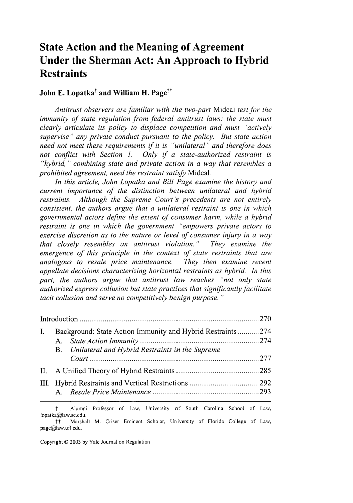 State Action And The Meaning Of Agreement Under The Sherman Act An