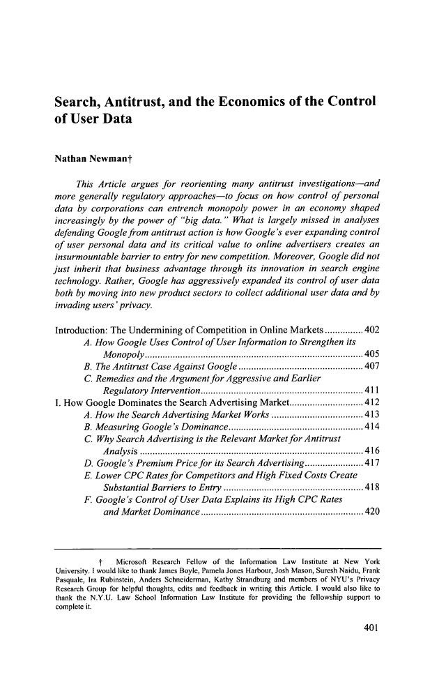 Search, Antitrust, and the Economics of the Control of User