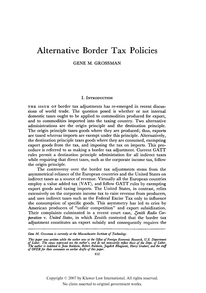 handle is hein.kluwer/jwt0012 and id is 468 raw text is: Alternative Border Tax Policies