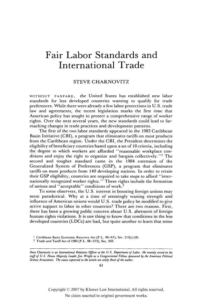 handle is hein.kluwer/jwt0020 and id is 77 raw text is: Fair Labor Standards and