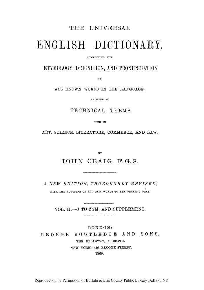 Universal English Dictionary, Comprising the Etymology