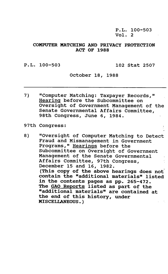 handle is hein.leghis/cmpmpp0002 and id is 1 raw text is: P.L. 100-503