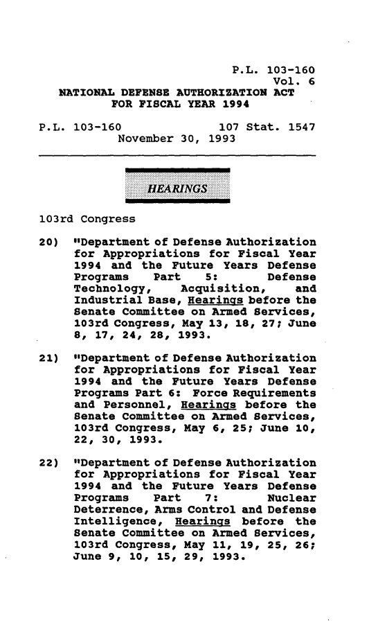 handle is hein.leghis/daafy0006 and id is 1 raw text is: P.L. 103-160