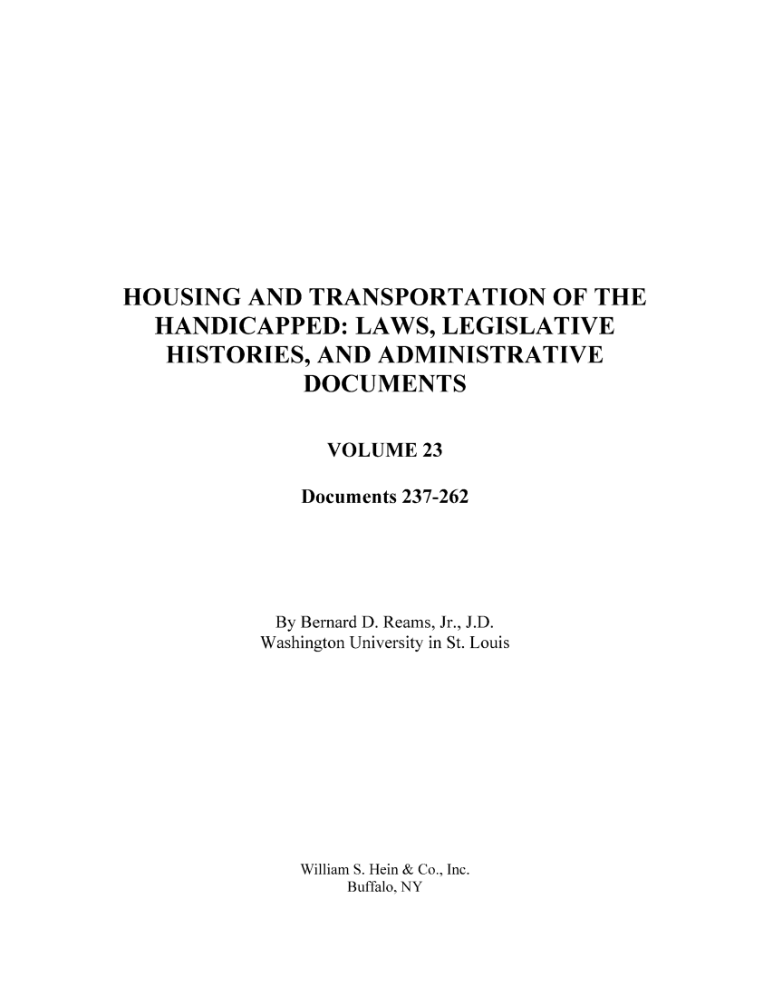 handle is hein.leghis/hothand0023 and id is 1 raw text is: HOUSING AND TRANSPORTATION OF THE