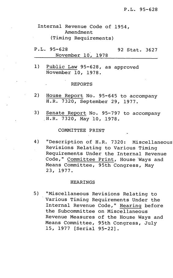 Legislative History of the Internal Revenue Code of 1954 Amendment