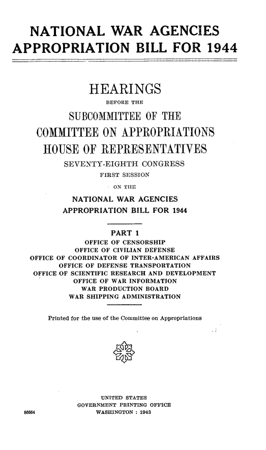 handle is hein.leghis/lorwaragtp0001 and id is 1 raw text is: NATIONAL WAR AGENCIES