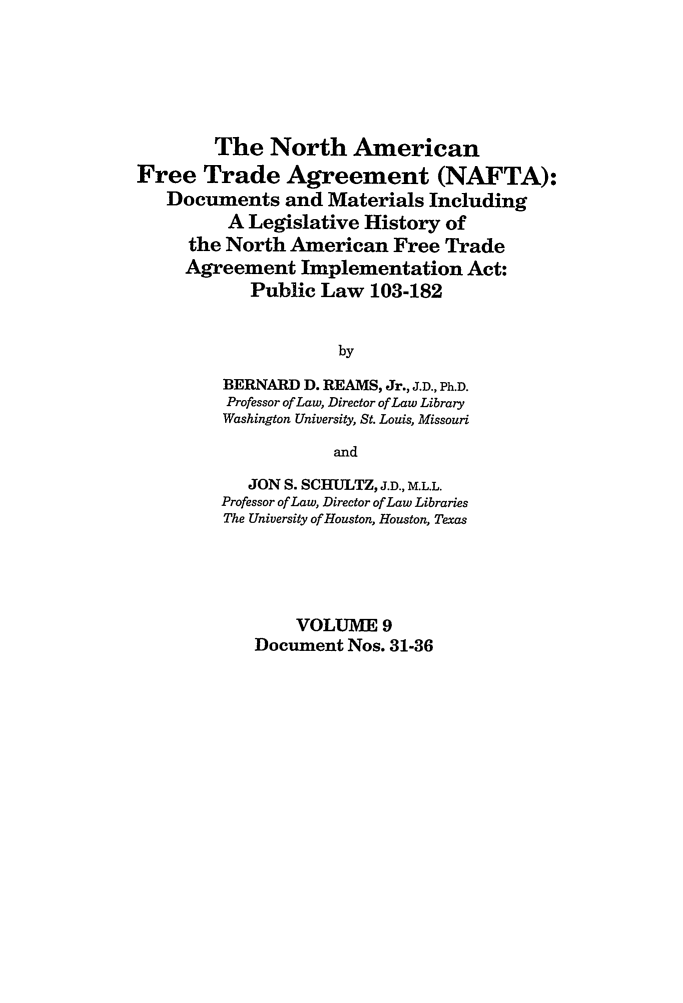 north american trade agreement nafta documents and what is heinonline