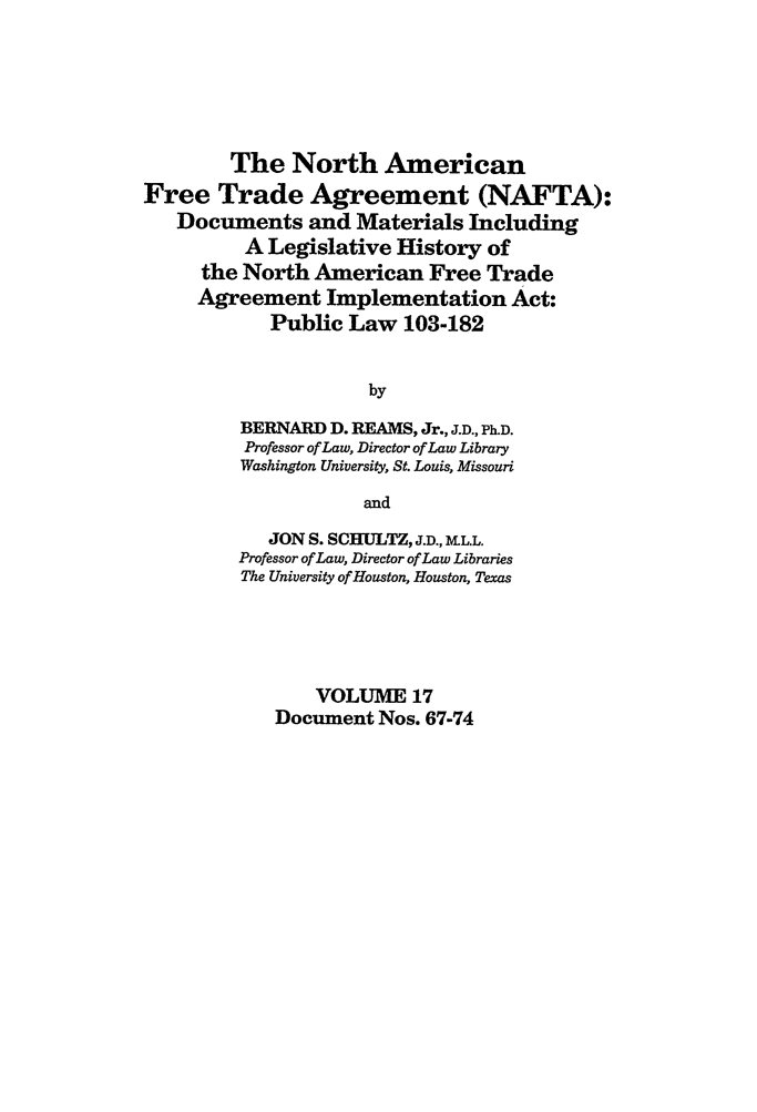 North American Free Trade Agreement Nafta Documents And Materials