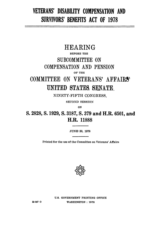 handle is hein.leghis/srvbnhearg0001 and id is 1 raw text is: VETERANS' DISABILITY COMPENSATION AND