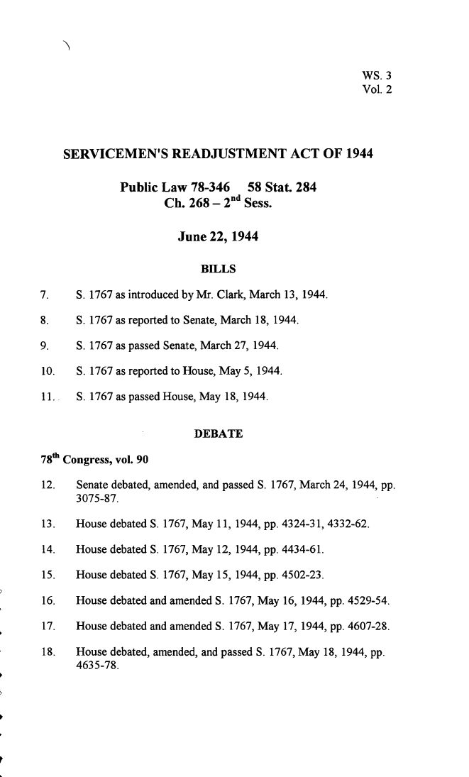 Legislative History Of The Servicemens Readjustment Act Of 1944