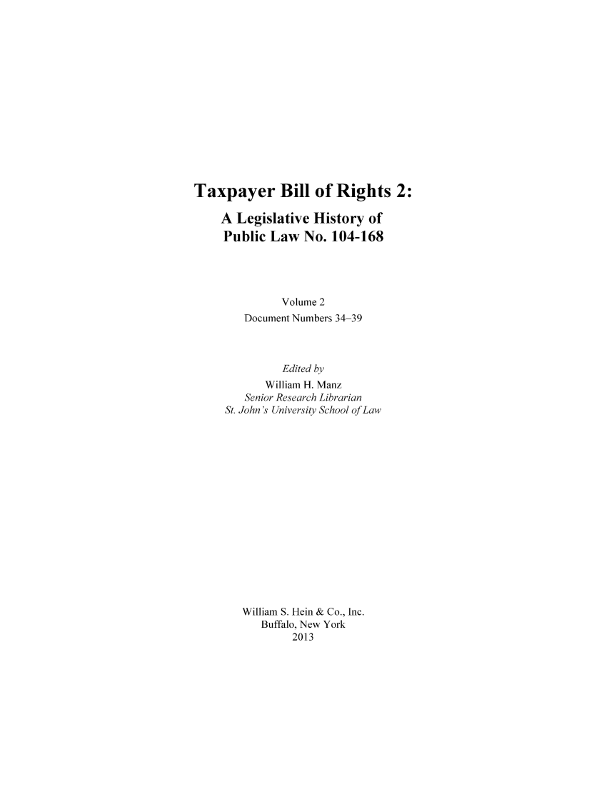 handle is hein.leghis/taxbilrig0002 and id is 1 raw text is: Taxpayer Bill of Rights 2: