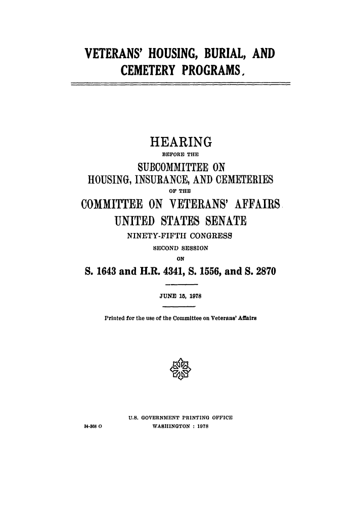 handle is hein.leghis/vburialc0001 and id is 1 raw text is: VETERANS' HOUSING, BURIAL, AND
