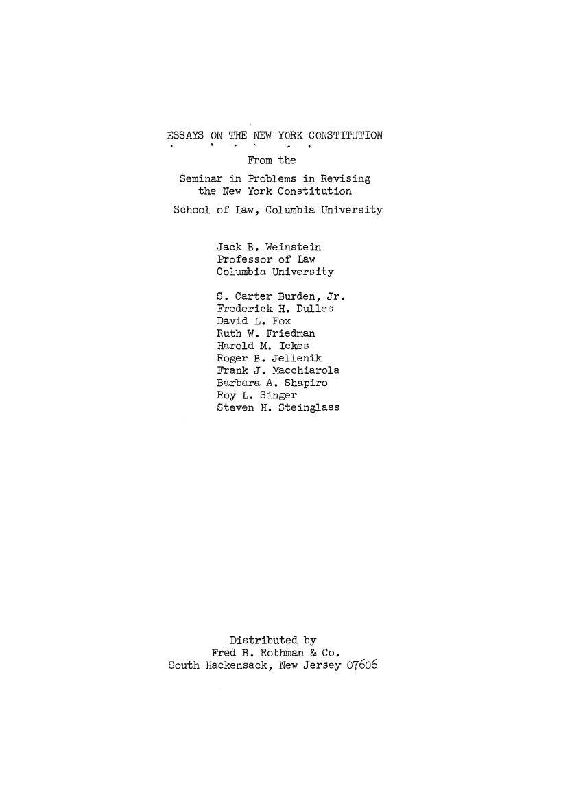 essays on the new york constitution from the seminar in problems what is heinonline