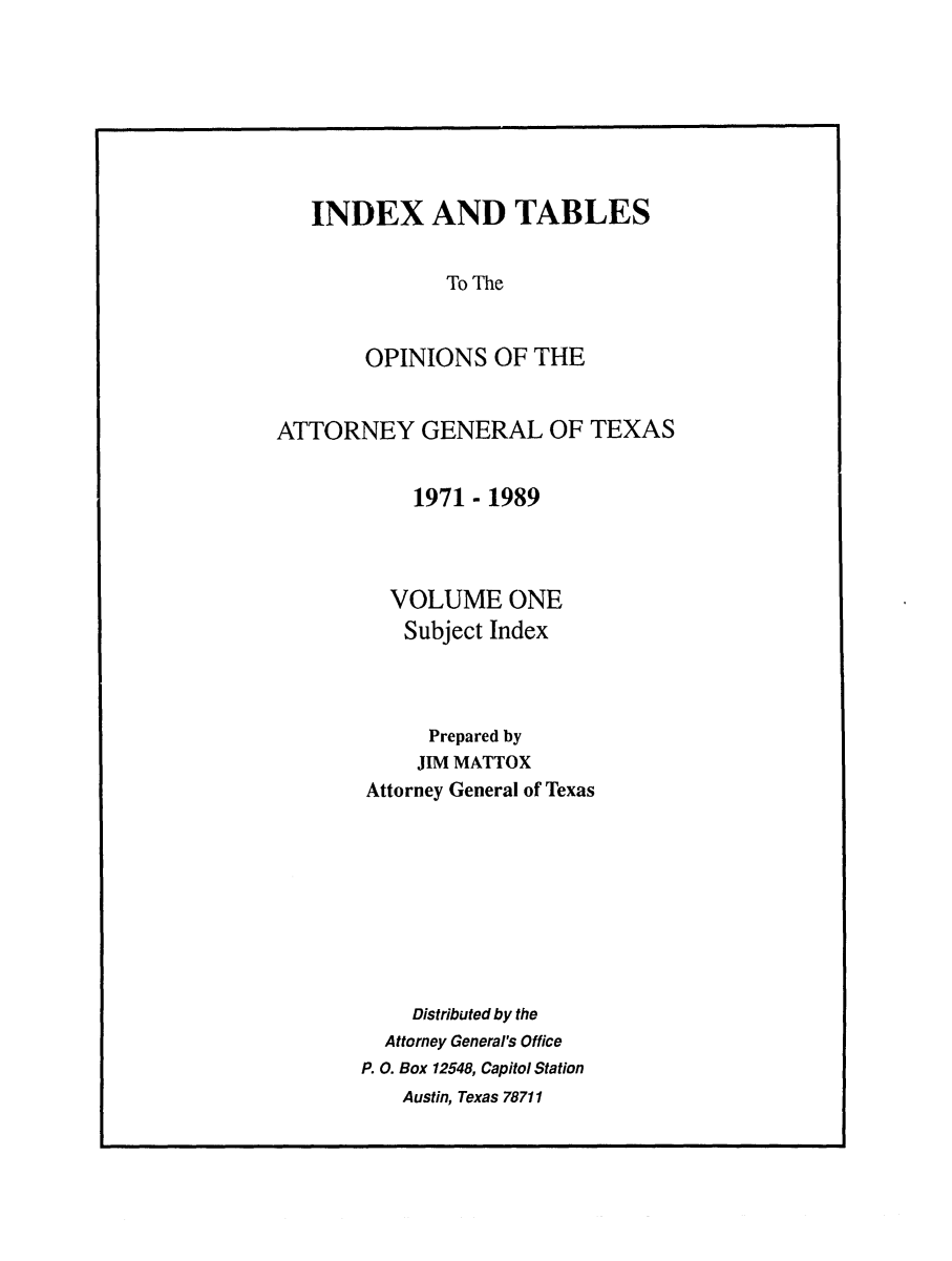 handle is hein.sag/sagtx0038 and id is 1 raw text is: INDEX AND TABLES