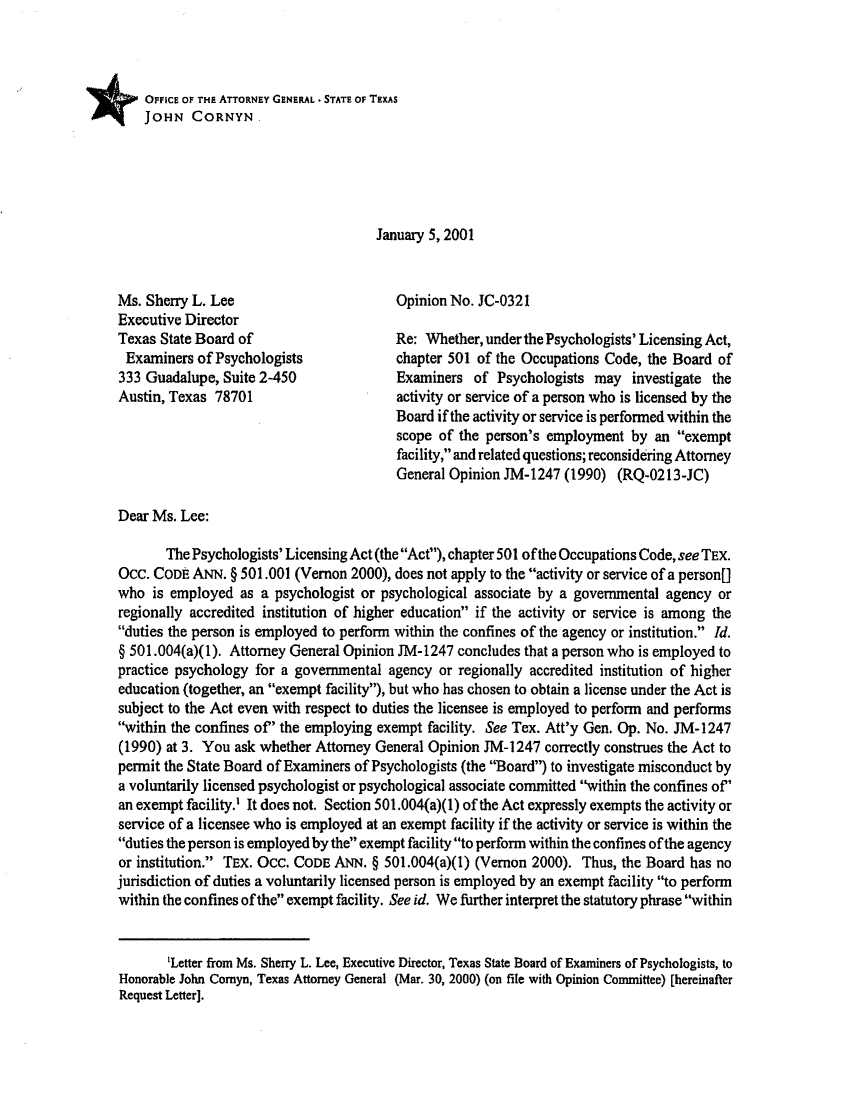 Texas Attorney General Reports and Opinions V  2001