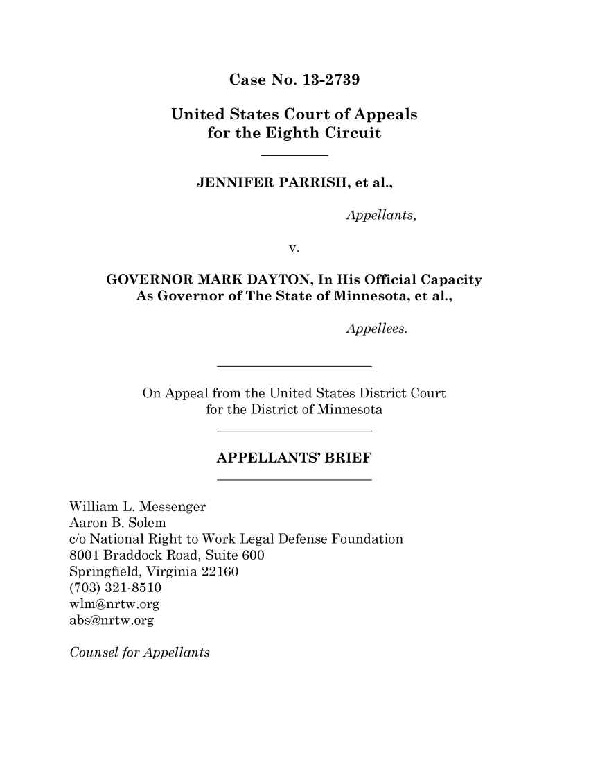 No The Court Of Appeals Virginia Is A State Appellate For Jennifer Parrish Et Al Appellants V Governor Mark Dayton In What Heinonline With Comprehensive Coverage Government